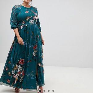 """Long"" Sleeve Floral Maxi Dress"